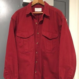 Filson men's red heavy Button Front Shirt Coat